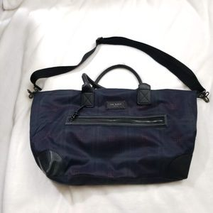 Ted Baker Overnighter Bag Blue and Red Plaid
